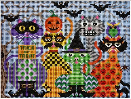 JPH351-SCAREDY CATS BY JP NEEDLEPOINT