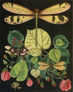 MS2151C DRAGONFLY with PINK ROSES by Melissa Shirley