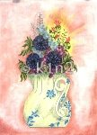 STDDF300-Yellow Pitcher with Flowers by Star Needlearts