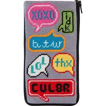APSZ499 TEXTING NEEDLEPOINT EYEGLASS/CELL PHONE CASE STITCH 'N ZIP KIT by Alice Peterson