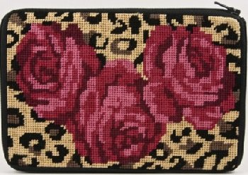 APSZ541 ROSES ON LEOPARD NEEDLEPOINT PURSE STITCH 'N ZIP KIT by Alice Peterson