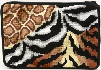 APSZ549 ANIMAL SKINS NEEDLEPOINT PURSE STITCH 'N ZIP KIT by Alice Peterson