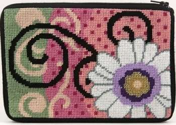 APSZ578 DAISY SWIRL NEEDLEPOINT PURSE STITCH 'N ZIP KIT by Alice Peterson