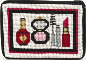 APSZ579 MAKE-UP AND THINGS NEEDLEPOINT PURSE STITCH 'N ZIP KIT by Alice Peterson