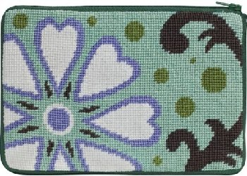 APSZ599 WHITE HEART FLORAL NEEDLEPOINT PURSE STITCH 'N ZIP KIT by Alice Peterson