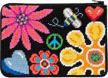 APSZ605 FUN FLORAL NEEDLEPOINT PURSE STITCH 'N ZIP KIT by Alice Peterson