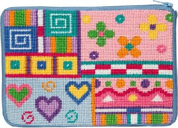 APSZ606 PATCHWORK NEEDLEPOINT PURSE STITCH 'N ZIP KIT by Alice Peterson