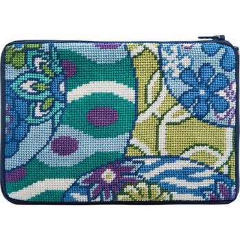 APSZ615 IMARI ABSTRACT NEEDLEPOINT PURSE STITCH 'N ZIP KIT by Alice Peterson