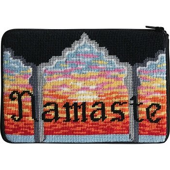 APSZ626 NAMASTE NEEDLEPOINT PURSE STITCH 'N ZIP KIT by Alice Peterson