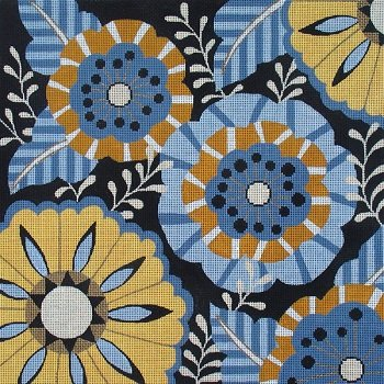 VNGAL25019 BLUE GOLD BLACK FLORAL by Amanda Lawford for Vallerie Needlepoint Gallery