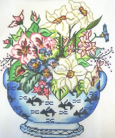 WNPI59-Floral Blue Pot by Wee Needle