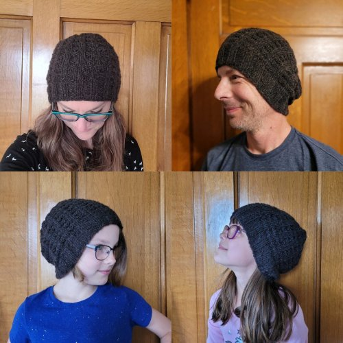Bulky Waffle Hat, modeled by the Potters
