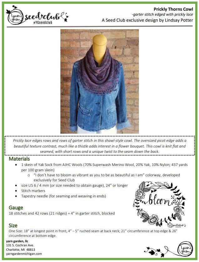 Prickly Thorns Cowl - a pattern download