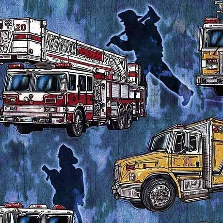 Quilting Treasures  -  5 Alarm Firetrucks