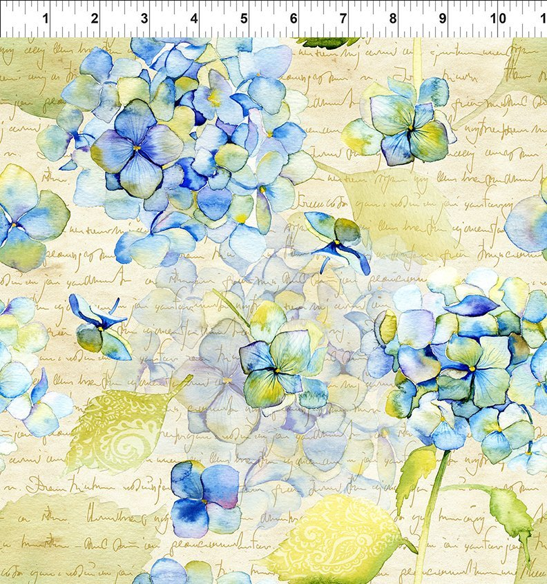 In the Beginning - Leah - hydrangea & text
