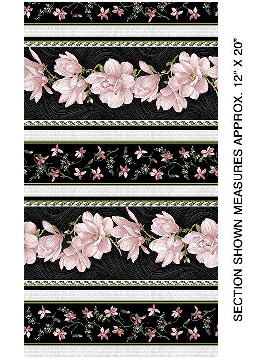 Benartex - Magnolia Blooms Stripe - Coral