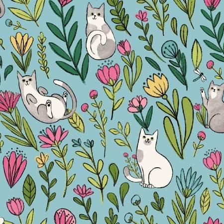 Aqua Flower Cats