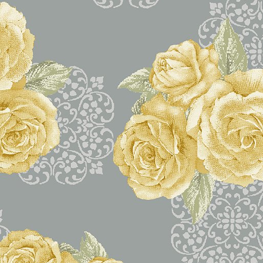 Benartex - Grandeur Rose - Bouquet gray/yellow