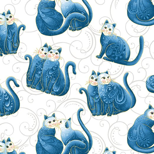 Benartex - Mini Scroll Cats White/Blue