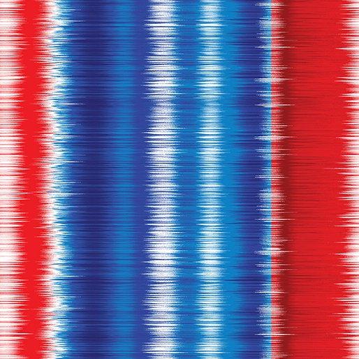 Benartex - Shimmer stripe red/blue