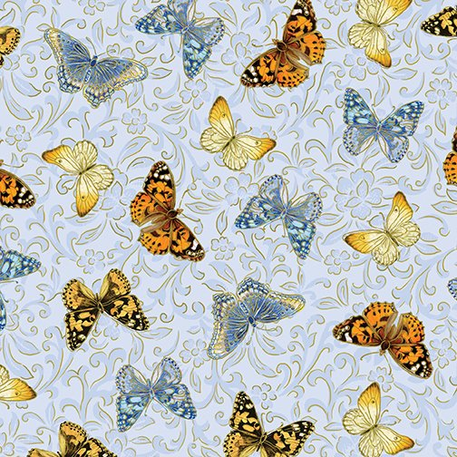 Benartex - Kanvas - Butterfly Garden - Blue