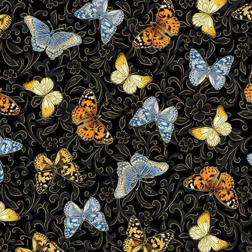 Benartex - Kanvas - Butterfly Garden - Black