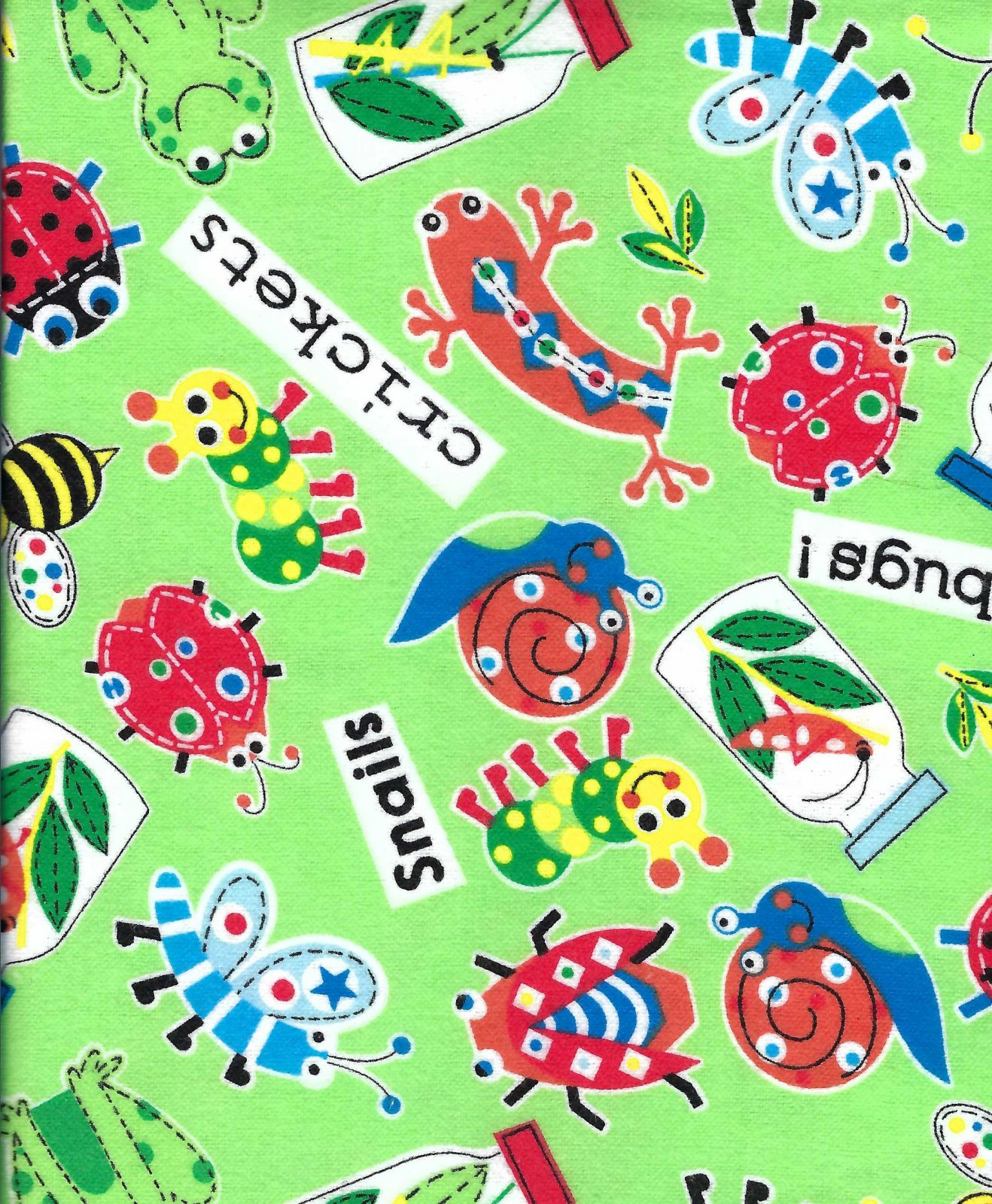 Flannel Hemstitched - Bugs and Critters