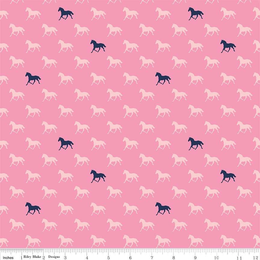 Riley Blake - Derby horses pink