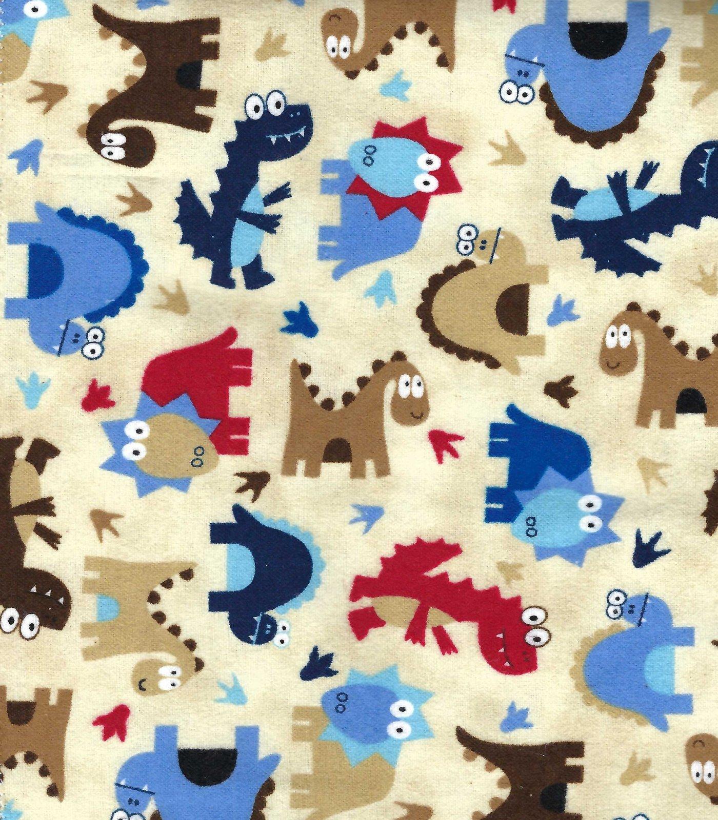 Flannel Hemstitched - Dinosaurs on Beige