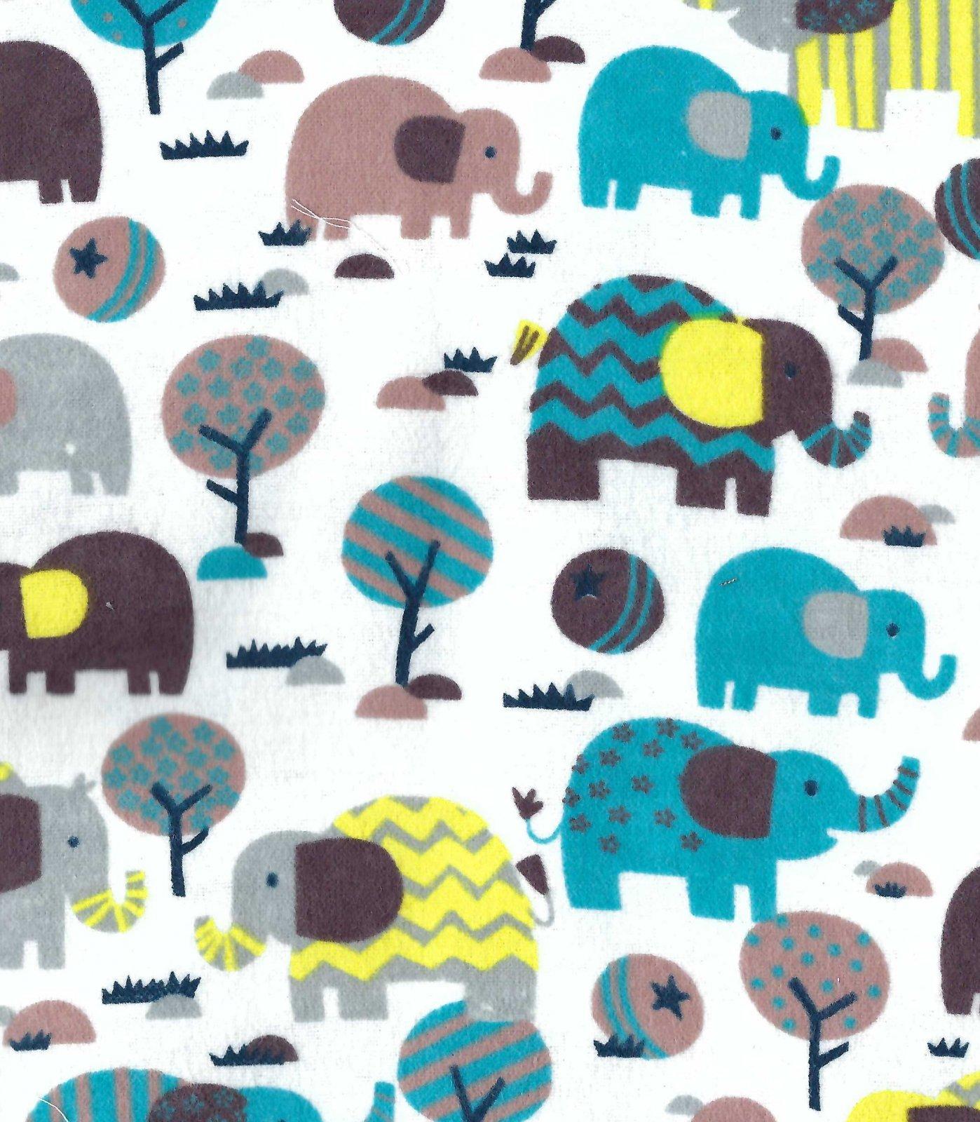 Flannel Hemstitched - Elephants