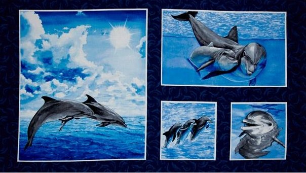 Exclusively Quilters - Make a Splash Dolphin Panel
