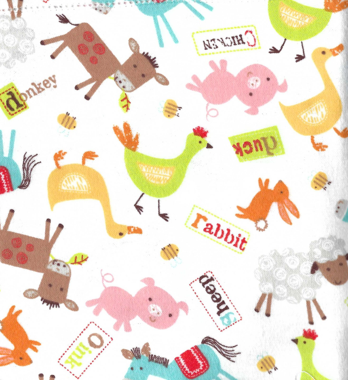 Flannel Hemstitched - Farm Animals
