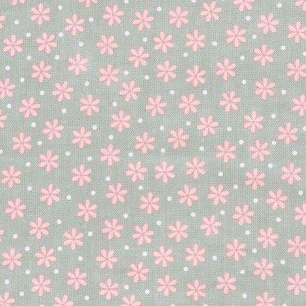 Robert Kaufman - Cozy Cotton Gray with Pink Flower