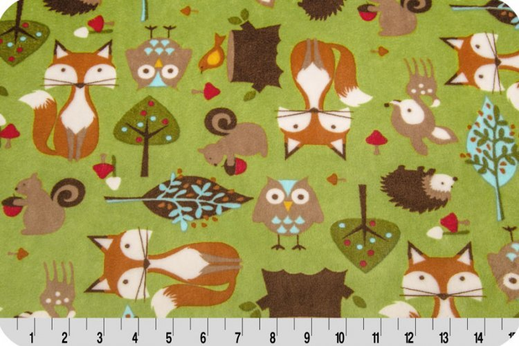 Self Binding Baby Blanket Minky Kit - Forest Tales - Brown