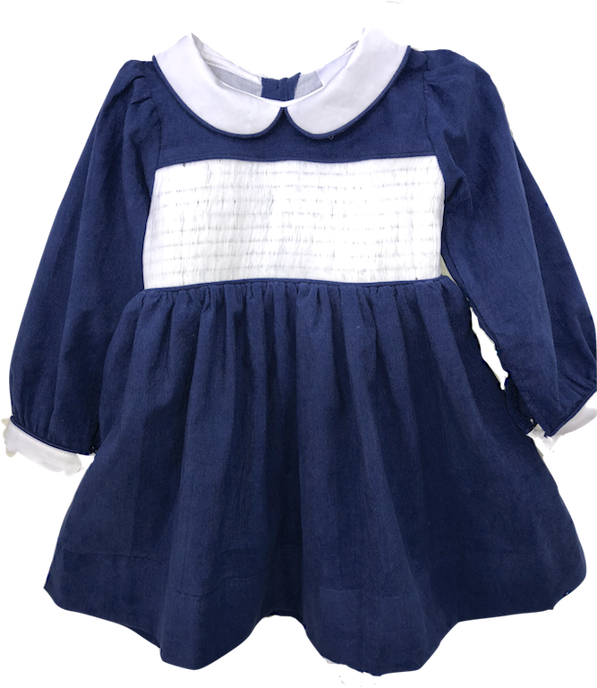 Girl's Yoke Dress - Blue Corduroy
