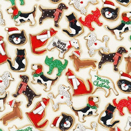 Robert Kaufman - Holly Jolly Christmas - Ivory Cats and Dogs