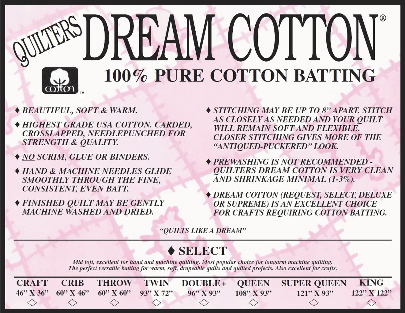 Quilters Dream Pure Cotton Select Batting - White