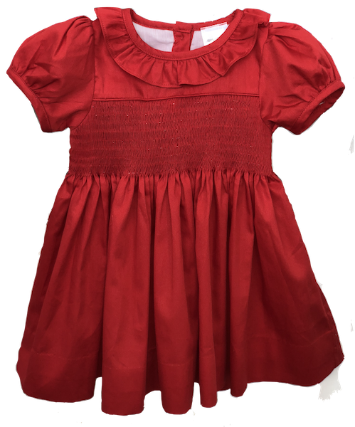 Girls Yoke Dress - Red
