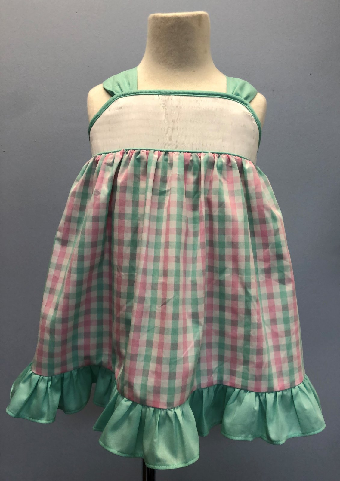 Girls Sundress pink and aqua check with aqua trim and bow