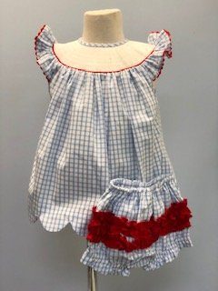 Girls blue and white windowpane check bishop top with panties