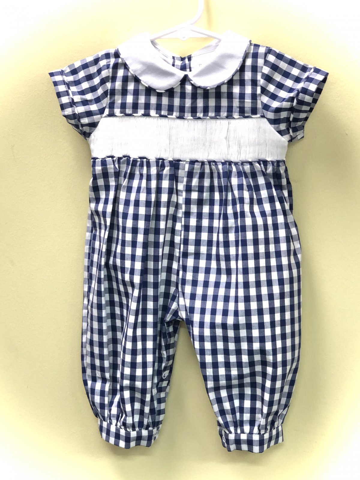 Navy blue and white check long romper