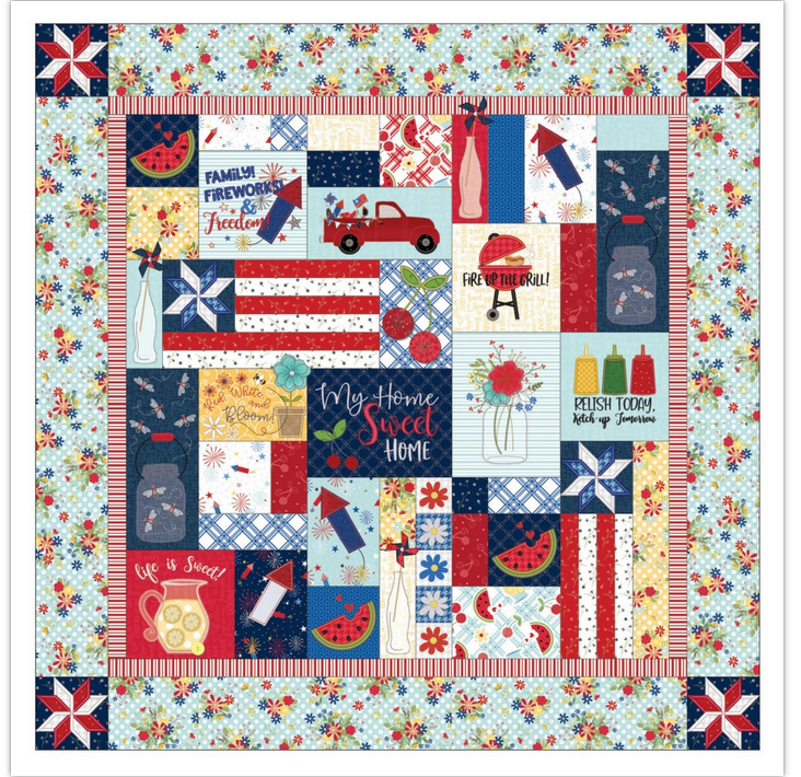 KimberBell Red, White & Bloom Quilt Kit - Sewing Version