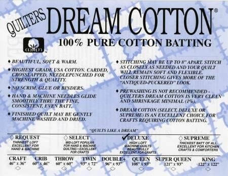 Quilters Dream Pure Cotton Deluxe Batting - Natural color