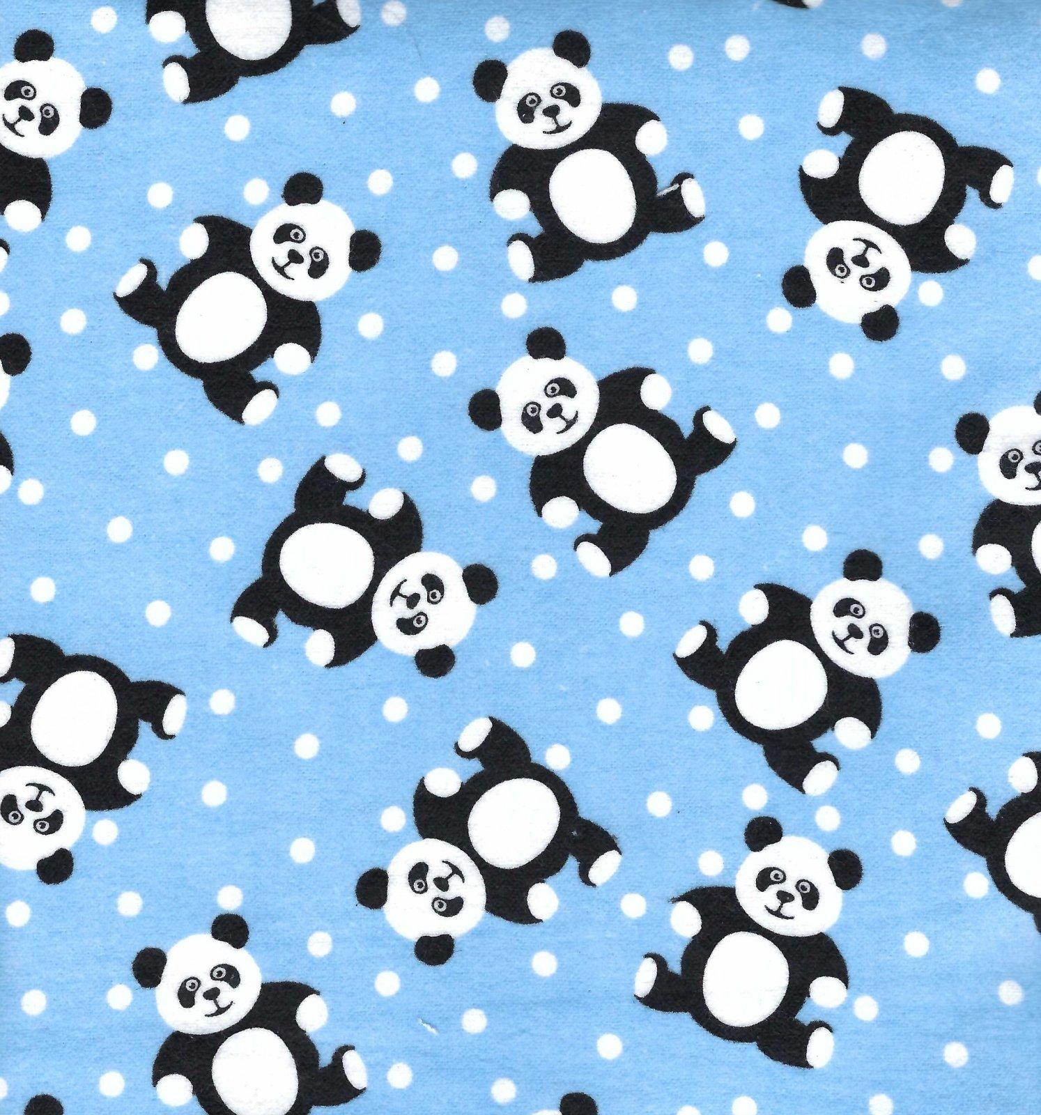 Flannel Hemstitched - Pandas on Blue