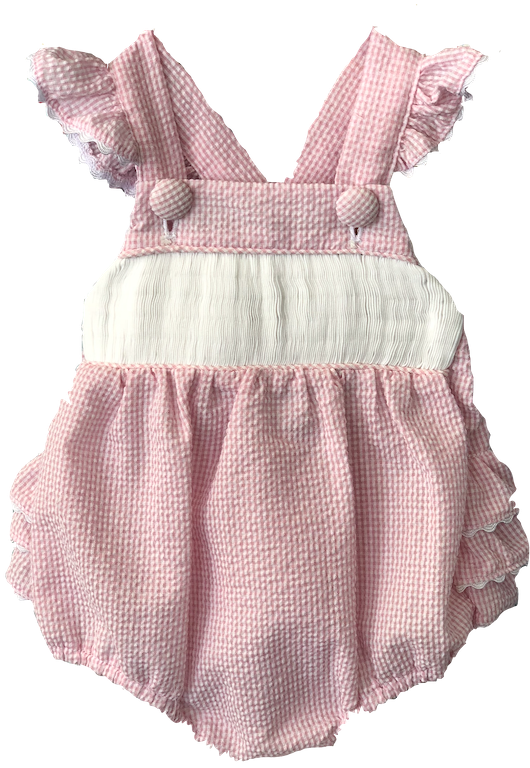 Girls/Baby Sunsuit - pink and white stripe seersucker