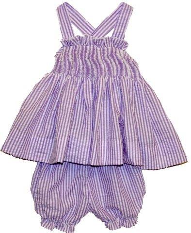 Girl's Seersucker Purple Stripe Two-Piece Outfit