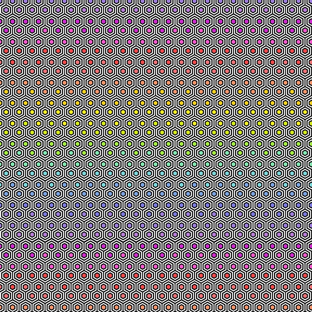 Tula Pink - Linework - Hexy Rainbow - Ink