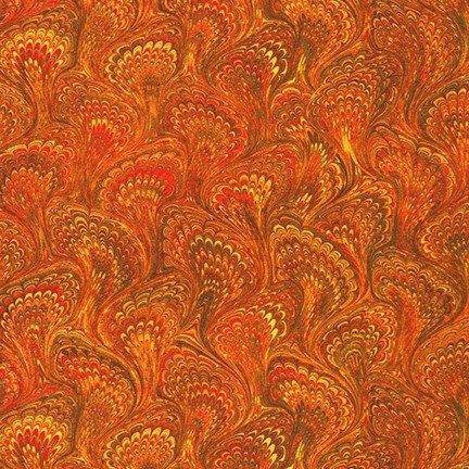 Robert Kaufman - Library of Rarities - Marbled Paper End Sheet - Copper