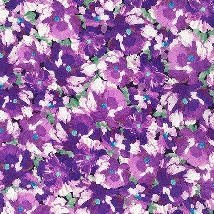Robert Kaufman - Painterly Petals - Purple