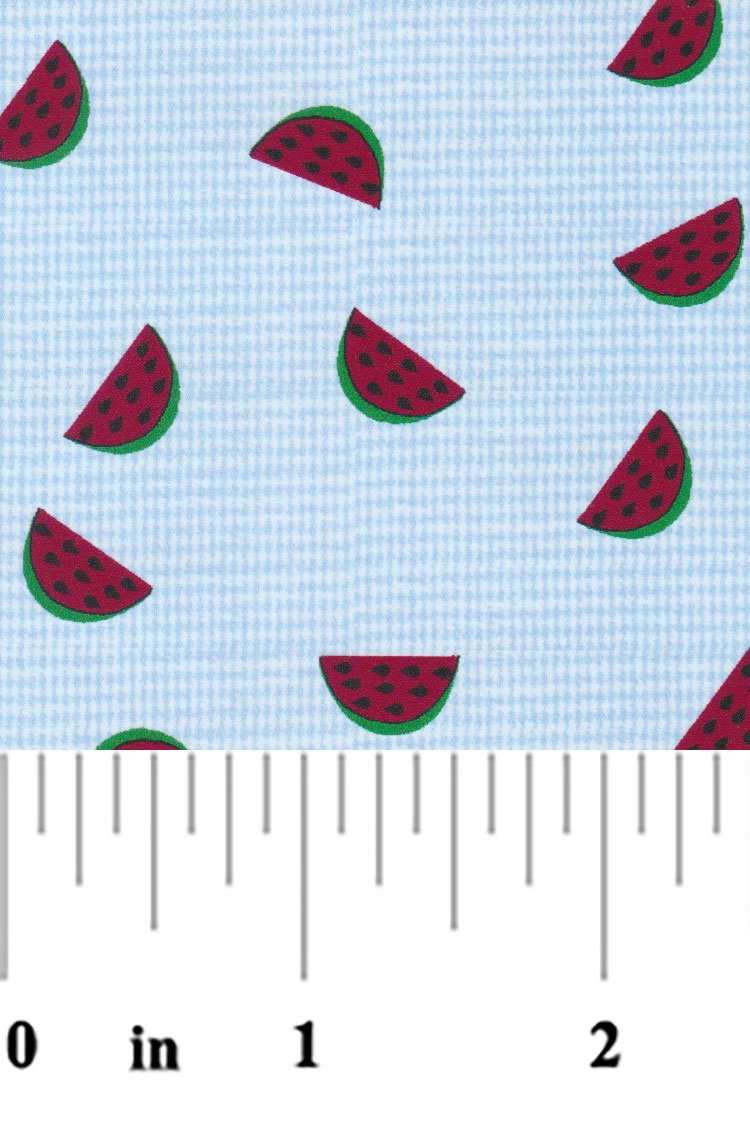 Fabric Finders - Watermelon on 1/32 Blue Microcheck